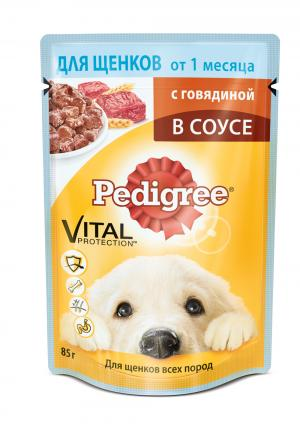 Корм влажный  для взрослых собак, говядина, 85г Pedigree