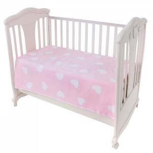 Одеяло Ермошка байковое премиум Фламинго сердечки 140x100 см Ермолино