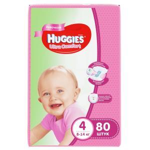 Подгузники  Ultra Comfort 4 для девочек (8-14 кг) 80 шт. Huggies