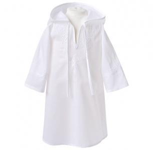 Крестильная рубашка модель 3 с капюшоном и вышивкой Золотой Гусь