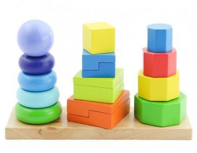 Деревянная игрушка  Пирамидки 3 в 1 Мир деревянных игрушек