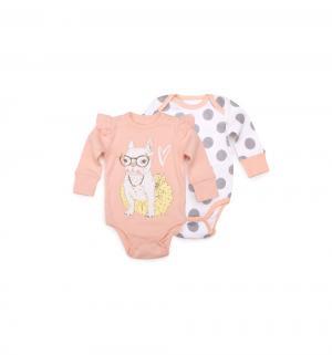 Комплект боди 2 шт , цвет: розовый/белый Happy Baby