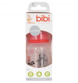 Бутылочка  Mama/Papa полиамид с рождения, 125 мл, цвет: красный Bibi