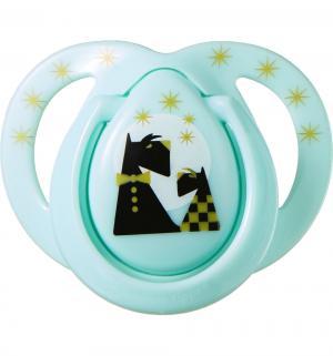 Пустышка  Moda Собачка силикон, с рождения, цвет: голубой/собачка Tommee Tippee