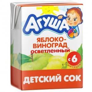 Сок  яблоко-виноград, 200 мл Агуша