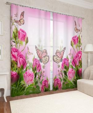 Фотошторы Стайка бабочек на розах Сирень