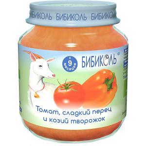 Пюре  томат, сладкий перец и козий творожок с 9 мес, 6 шт по 125 г Бибиколь