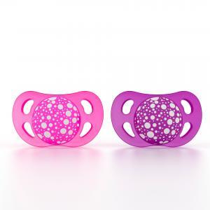 Пустышка  Ортодонтическая силикон, с рождения, цвет: розовый/фиолетовый Twistshake