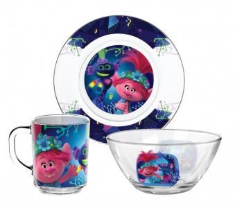 ND Play Набор посуды из стекла Тролли 2 Серия Техно (3 предмета)
