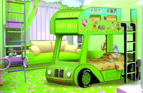 Подростковая кровать  двухъярусная Compact автобус Винни Пух Red River