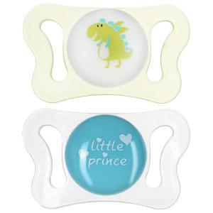 Пустышка  Micro для мальчиков силикон, с рождения, цвет: белый/салатовый Chicco