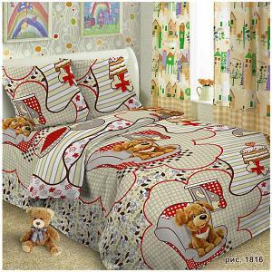 Детское постельное белье 1,5 сп , Тузик Letto. Цвет: серый