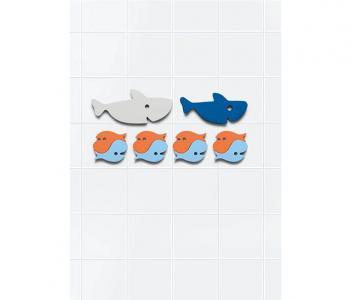 Мягкий 2D пазл для игры в ванне Акулы (10 элементов) Quut