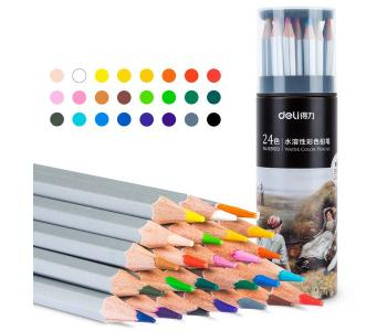 Карандаши акварельные цветные в металлическом тубусе Nuevo 24 цвета Deli