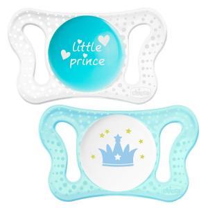 Пустышка  Micro для мальчиков силикон, с рождения, цвет: голубой/белый Chicco