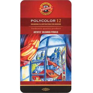 Набор цветных карандашей KOH-I-NOOR Polycolor, 12 цветов. Цвет: красный