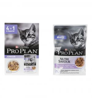 4шт+1шт в подарок! Корм влажный  для котят с чувствительным пищеварением, индейка, 85*4шт+1шт подарок Pro Plan