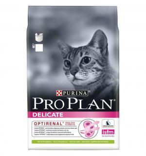 Сухой корм  для взрослых кошек с чувствительным пищеварением и привередливых к еде, ягненок, 3кг Pro Plan
