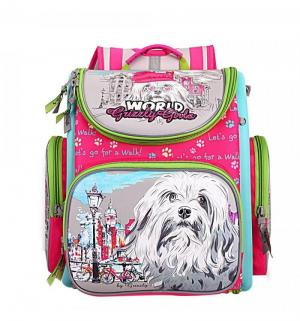 Школьный рюкзак  с мешком фуксия Grizzly
