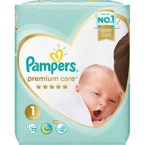 Подгузники  Premium Care 2-5 кг, 72 шт Pampers