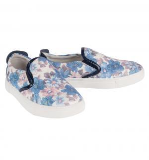Слипоны , цвет: белый/голубой Зебра