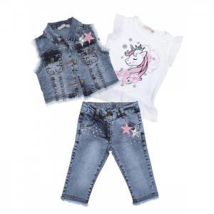 Комплект для девочки жилет, футболка, джинсы 3367 Baby Rose