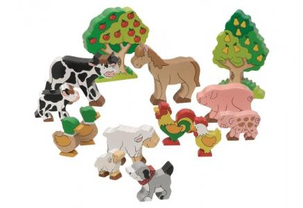 Фигурки Животные фермы, деревья Goki