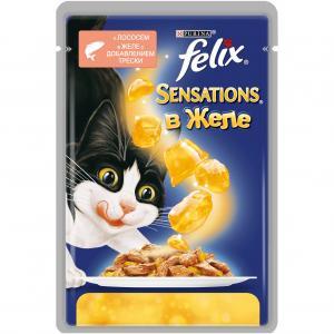 Влажный корм  Sensation для взрослых кошек, лосось/треска, 85г Felix