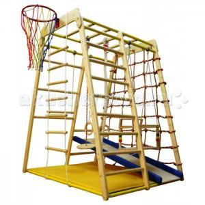 Детский спортивный комплекс Весёлый Малыш Wood горка мягкий бортик Вертикаль