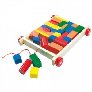 Деревянная игрушка  Тележка с разноцветными кубиками Bino