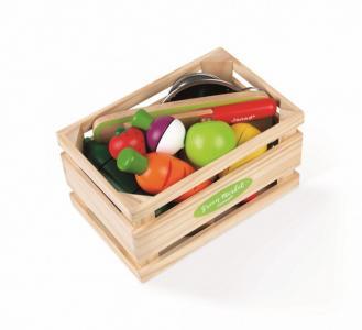 Набор фруктов и овощей с дуршлаком деревянным ножом в ящике Janod