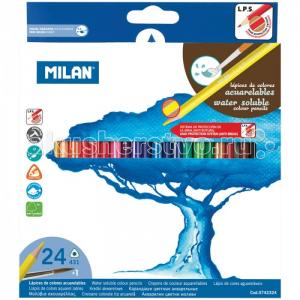 Карандаши акварельные 431 24 цвета с кистью Milan