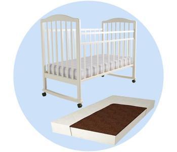 Детская кроватка  Malva качалка с матрасом Forest