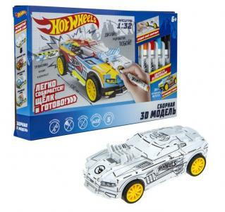 Сборная 3D модель автомобиля и фломастеры Hot Wheels