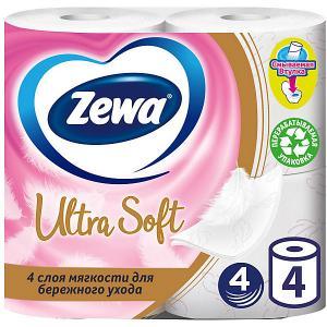 Туалетная бумага  Ultra Soft, 4 слоя, рулона Zewa
