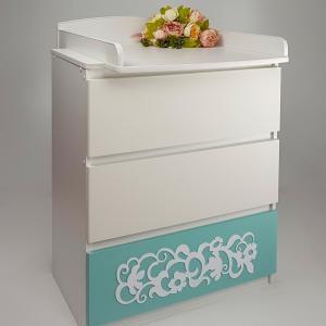 Комод детский  Eva декор Арабески, цвет: мятный/белый Островок Уюта