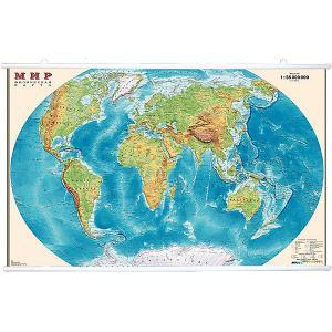 Карта Мира, Физическая 1:35М на рейках Издательство Ди Эм Би