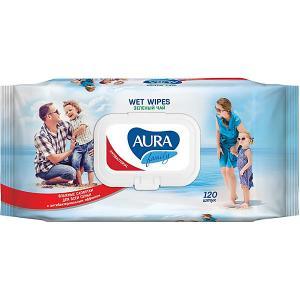 Влажные салфетки AURA Family антибактериальные, 120 шт Cotton Club