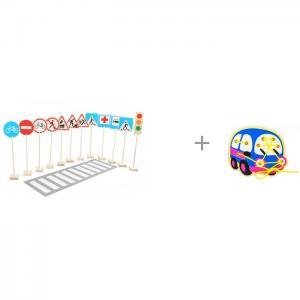 Деревянная игрушка  Знаки дорожного движения и Шнуровка Автобус Краснокамская