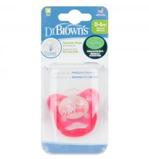 Пустышка Dr.Browns PreVent Ортодонтическая силикон, с рождения, цвет: розовый Dr.Brown's