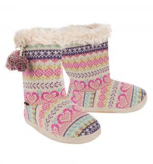 Тапочки , цвет: серый/розовый Tingo
