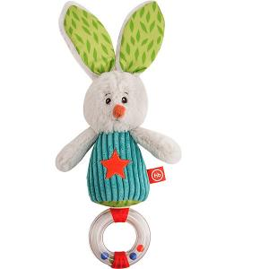 Погремушка-трещотка  Заяц Макс Happy Baby. Цвет: разноцветный