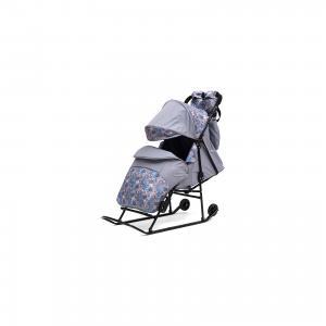 Санки-коляска  Зимняя сказка 2В Авто, черная рама, серый/Снежинки ABC Academy. Цвет: серый