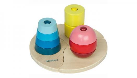 Деревянная игрушка  Развивающая Три пирамидки Beleduc