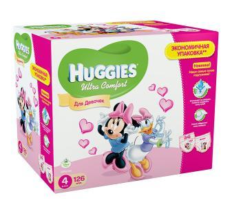 Подгузники Ultra Comfort Disney Box для девочек 4 (8-14 кг) 126 шт. Huggies
