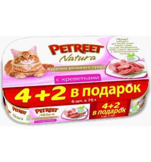 Влажный корм  для взрослых кошек, кусочки розового тунца с креветками, 70г*4шт+2шт в подарок Petreet