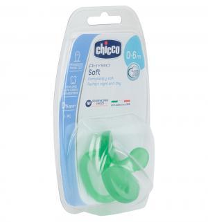 Пустышка  Physio Soft для детей силикон, с рождения, цвет: зеленый Chicco