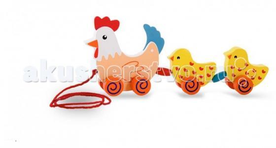 Каталка-игрушка  Каталка курица с цыплятами Viga