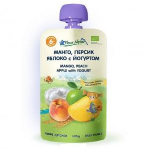 Пюре  Органик манго-персик-яблоко-йогурт с 6 месяцев, 120 г Fleur Alpine