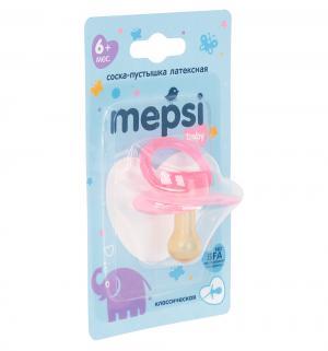 Пустышка  Baby Классическая латекс, с 6 мес, цвет: розовый Mepsi